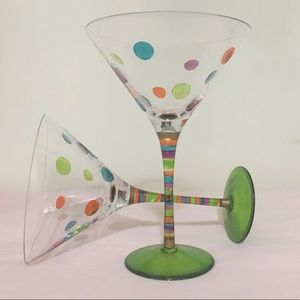 Pair of Beautiful Polka Dot Martini Glasses